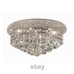 Elegant Lighting Primo 6 Light Flush, Chrome/Royal Cut Crystal V1800F14C-RC