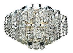 Elegant VECA1F16C/RC Belenus 6 Light Chrome Flush Mount Clear Royal Cut Crystal