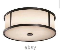 Espresso Dakota 2-Light 14 Wide LED Outdoor Ceiling Fixture WithOpal Etched Glass
