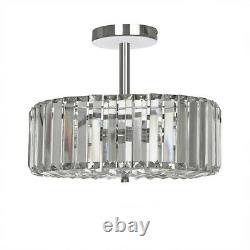 FERNHURST 3 Light Flush polished Chrome Crystal BNIB RRP £205