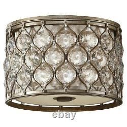 Feiss Lucia 2-Light Flush Mount in Burnished Silver FM355BUS