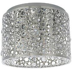 Flush Ceiling Mount Light Chrome & K5 Crystal Gorgeous Round Modern Lamp Shade