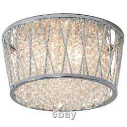 Flush Ceiling Mount Light Chrome Wire Crystals Round Cage Modern Bulb Pendant