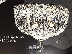 Flush Mount 3-Light10 Deluxe Imperial Crystal Lighting Fixture Ceiling SILVER