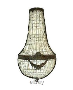 French Crystal Antique Replica Wall Sconce Light Fixture Chateau Mansion 27inch