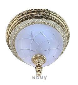 French Egg And Dart Frosted Cut Glass Bronze Brass Chandelier Flush Mount 14