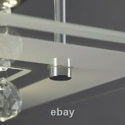 Frisbee Square LED Clear Crystal Flush Mount 220V Large Ceiling Light 9-Light