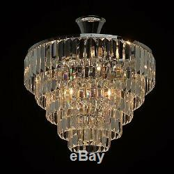 Gannon 5-Light Semi Flush Mount Dimmable Transparent Crystal Design Chandelier
