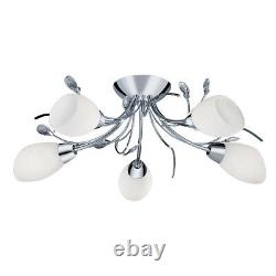 Gardenia 5 Light Chrome Semi Flush Ceiling Light With White Opal Glass Shade New