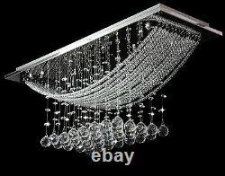 Genuine Crystal Glass Ceiling Light Fitting Bridge Wave Flush Mount Chandelier