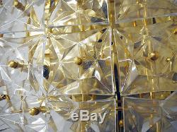 Gilt Brass KINKELDEY FLUSH MOUNT Crystal Glass CHANDELIER, Germany 1970s