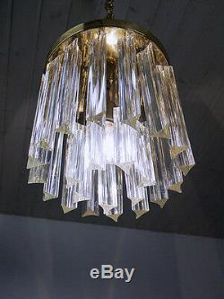 Gold Plated Crystal Prism FLUSHMOUNT Chandelier PALWA Venini Camer 1960s