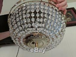 Gorgeous 13 1/2 Swarovski Crystal Basket 3 Light Flush Mount Chandelier