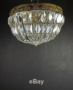 Gorgeous Large Antique French Heavy Crystal Brass 5 Light Plafonnier Flush Mount