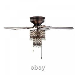 Gracewood Hollow Huo 52-inch Rustic Bronze Lighted Flush Mount Ceiling Fan