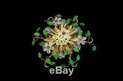 Hollywood Regency Flush Mount Ceiling Lamp Banci Firenze Crystal Flowers Leaves