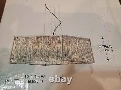 Home Decorators Saynsberry 4-Light Chrome and Crystal Square Shape Pendant