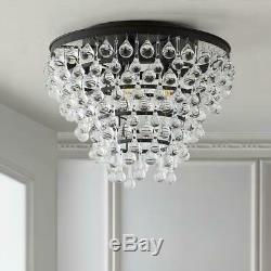 JONATHAN Y Toronto 16 in. Metal/Crystal LED Oil Rubbed Bronze Flush Mount