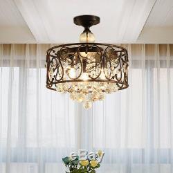 K9 Crystal Ceiling Fan Lamp Modern LED Lighting Bedroom Ceiling Light Chandelier