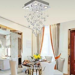 LED Ceiling Light Lamp Modern Crystal Raindrop Chandelier Lighting Flush Mount