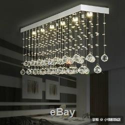 LED Crystal Ceiling Lamp Lighting Rain Drop Chandelier Pendant Light Dining Room