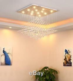 LED Crystal Chandelier RainDrop Lighting Square Ceiling Light Foyer Pendant Lamp