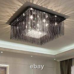 LED K9 Crystal Chandelier Black Glass Light Bedroom Ceiling Lamp Living Room