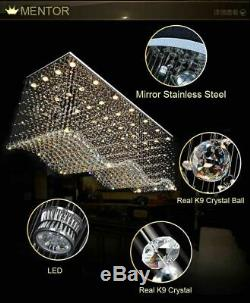 LED Remote Control Mirror SS K9 Crystal Ceiling Lights Pendant Lamps Chandeliers