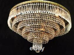Large! 24x14 Vintage Brass, CRYSTAL, 6 Tier, 10 Light Flush Ceiling CHANDELIER
