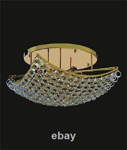 Large GOLD 12-light CEILING MOUNT Fixture (L22 x W22 x H10) with Crystal Prisms