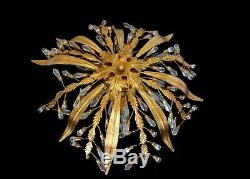 Large Vintage Flush Mount Ceiling Light Tole Chandelier With Crystals Italy 1960