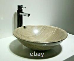 Luxury Bathroom Crystal Marble Stone Round Basin Sink Wash Bowl 43cm Uk 2019