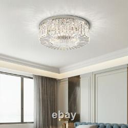 Luxury Clear Crystal Glass Round LED Porch Ceiling Lights Flush Mount in 40/50CM