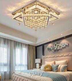 Luxury Crystal Chrome Chandelier Rectangular Lighting Flush Mount Fixture Remote