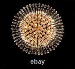 Luxury LED Golden Teak Crystal Glass Balls Minimal Ceiling Lights Flush Mount