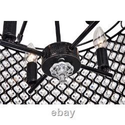 Marya 4-Light Antique Black Semi-Flush Mount with Crystal Beaded Drum