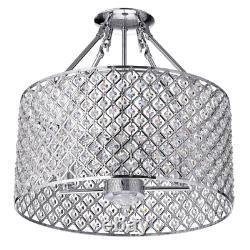 Marya 4-Light Chrome Semi-Flush Mount Light with Crystal Beaded Drum