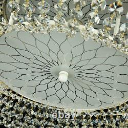 Maytoni Diamant Crystal Garda 6 Light Flush Mount Ceiling Light Cream Gold