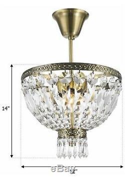 Metropolitan 3 Light Antique Bronze Crystal Semi Flush Mount Ceiling Light 12D