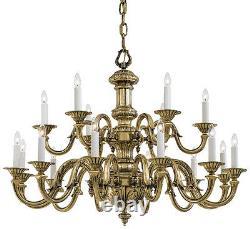 Metropolitan Lighting N700218 18-Light 2-Tier Chandelier Antique Classic Brass