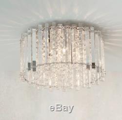 Milo Lighting Hanna 4 Light Semi Flush Crystal Ceiling Fitting 22cm H x 36cm W
