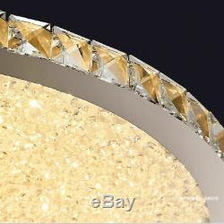 Minimal LED Clear Crystal Glass Beads Round Chrome Ceiling Lights Flush Mount