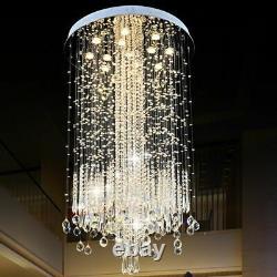 Minimalist Crystal Chandelier Light Long Loft Fixture Stainless Round Plates