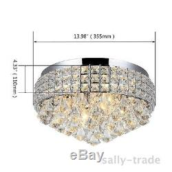 Modern 14 Inch Crystal LED Ceiling Flush Mount lights Chandeliers Pendant Light