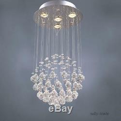 Modern 4-Light Round Globe Crystal Balls Flush Mount Ceiling Light Chandeliers