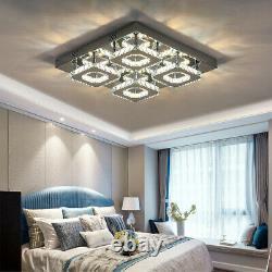 Modern 40-70cm Flush Mount Square Ceiling Chandelier Crystal Light Lamp Pendant
