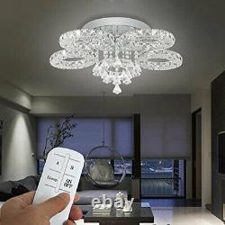 Modern 5 Rings LED Crystal Ceiling Light Flush Mount Large Crystal Chandelier