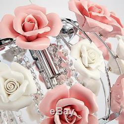 Modern Ceramic Chandelier Pink Rose Flower Crystal Ceiling Light Fixtures