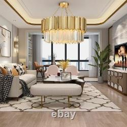 Modern Chandelier Light Crystal Luxury Stainless Steel LED Flush Mounted Lamp
