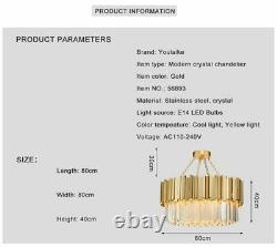 Modern Chandelier Lighting Crystal Luxury Stainless Steel LED Flush Mounted Lamp